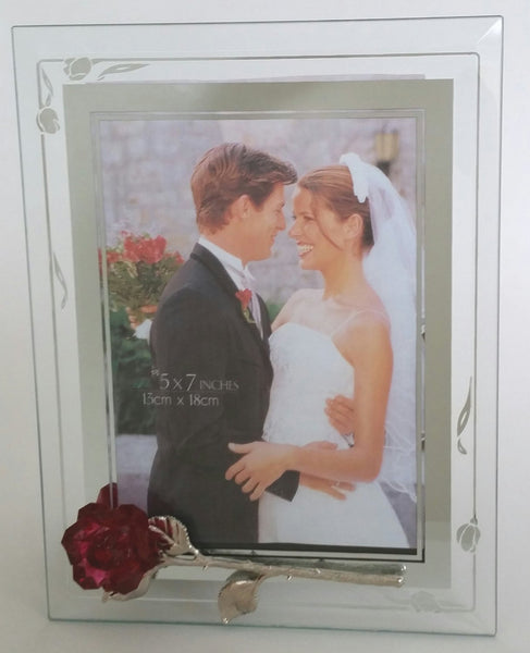 Red Crystal Rose Photo Frame - Picture Frame Handcrafted With Swarovski Crystal - Wedding Gift