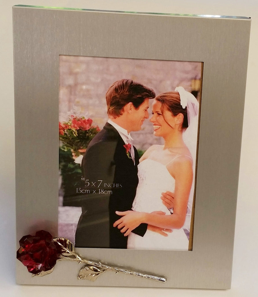 Silver Tone Picture Frame With Red Crystal Rose