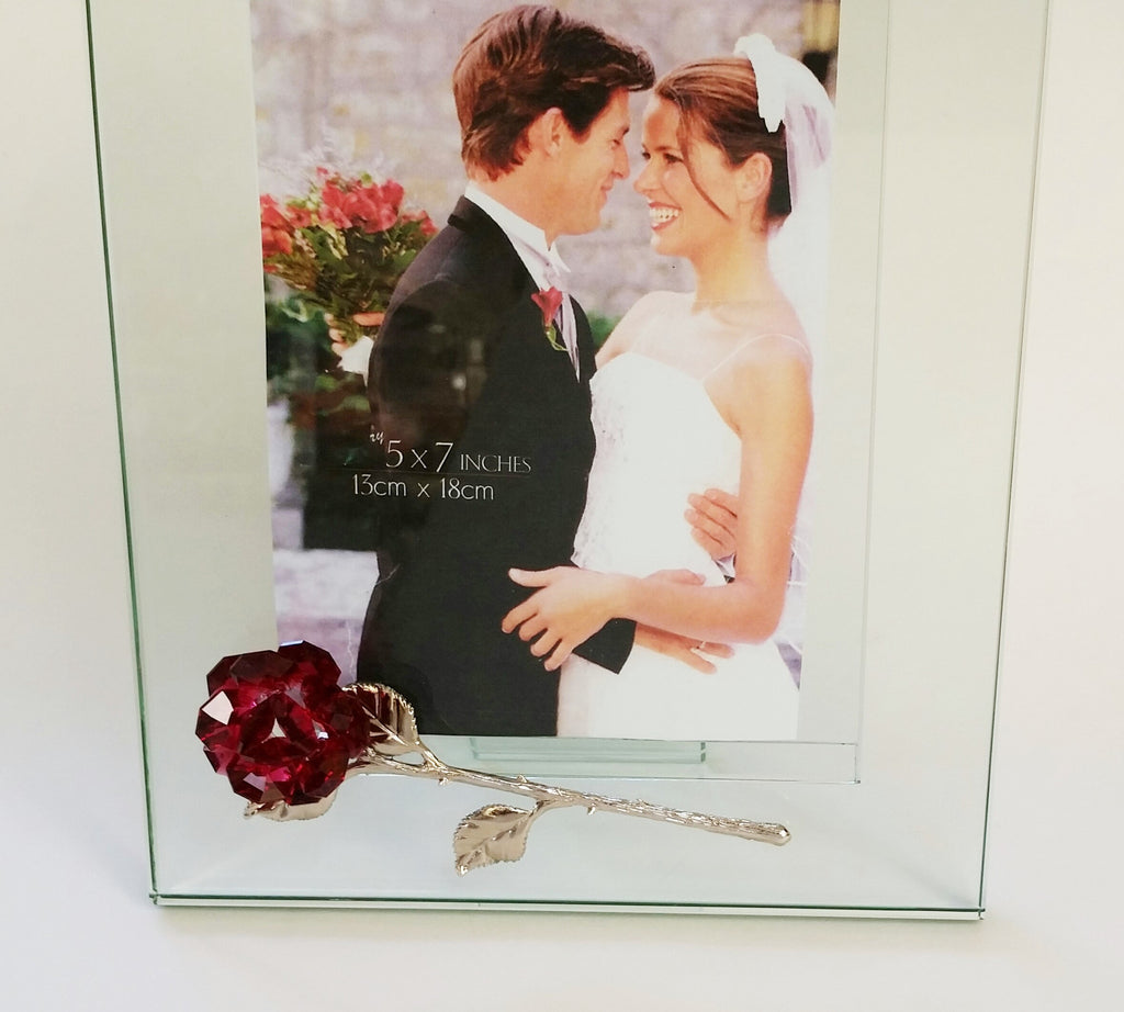 Glass Picture Frame With Red Crystal Rose - Holds 5x7 Picture