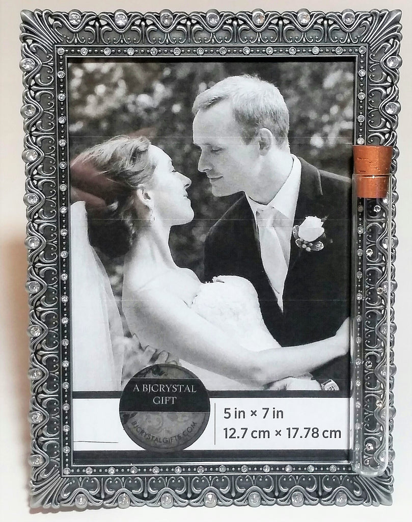 Pewter Color Bejeweled Jewish Wedding Picture Frame - Jewish Engagement Gift - Chuppah - Holds Shards From Jewish Wedding Ceremony