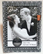 Load image into Gallery viewer, Pewter Color Bejeweled Jewish Wedding Picture Frame - Jewish Engagement Gift - Chuppah - Holds Shards From Jewish Wedding Ceremony