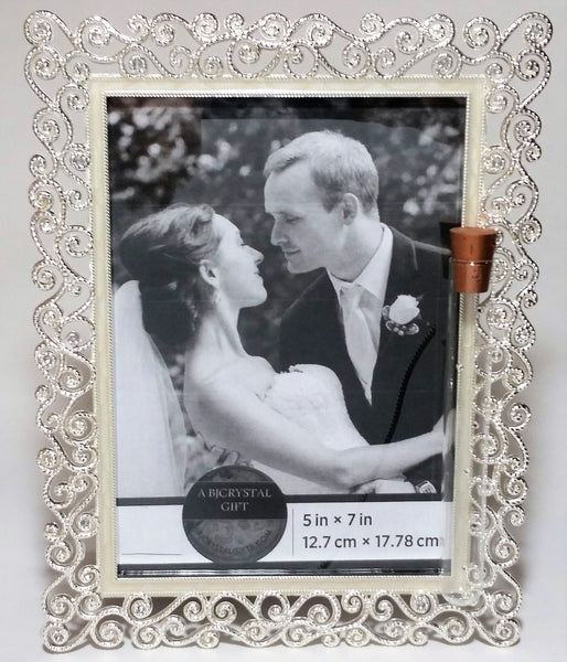 Jewish Wedding Picture Frame - Holds 5x7 Photo - Holds Shards From Glass Broken At Jewish Wedding Ceremony