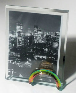 Rainbow Glass Picture Frame - Glass Photo Frame - 5x7 inch photo