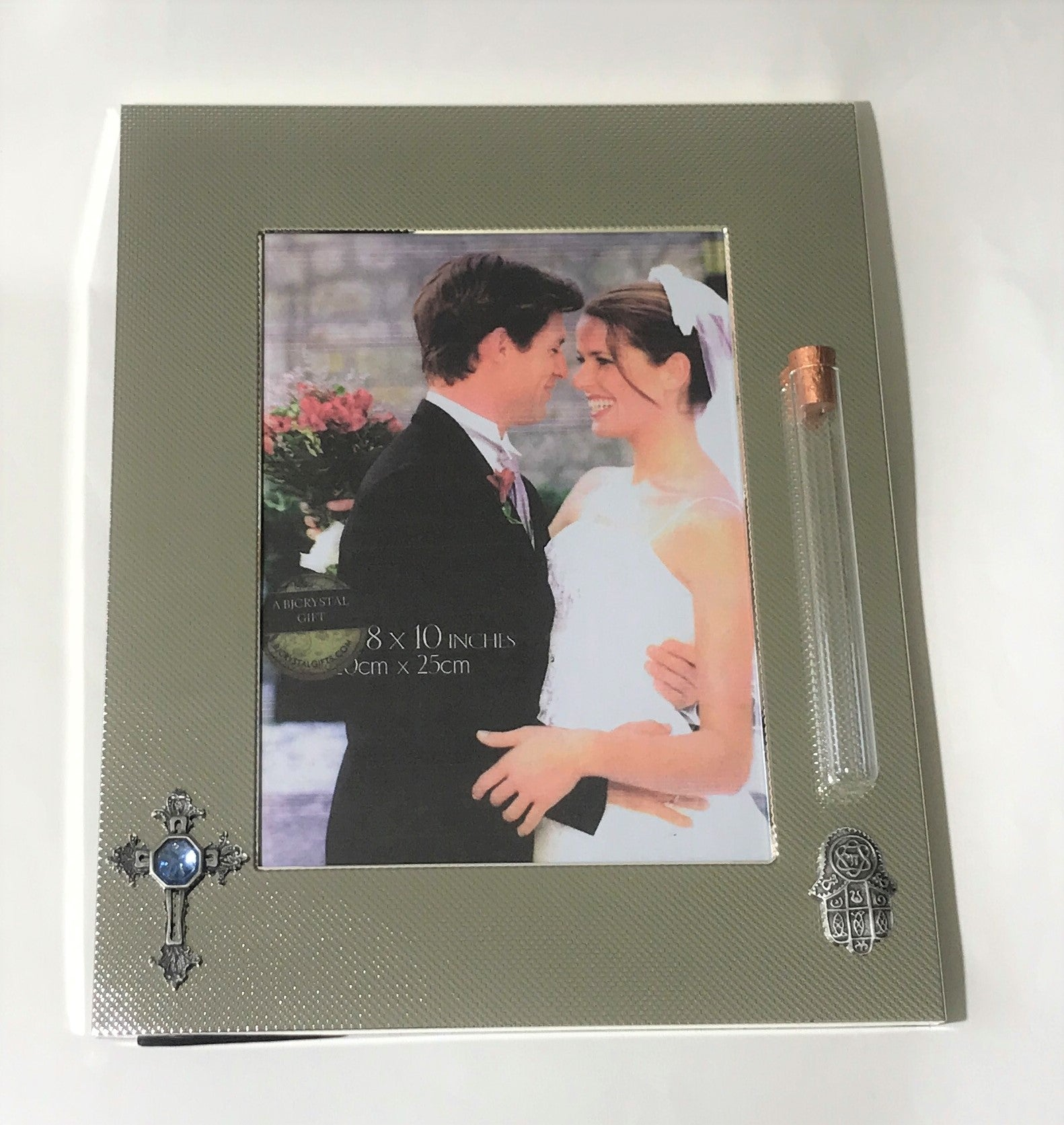 Interfaith Wedding Picture Frame - Frame With Cross And Chamsa - Tube For Shards Of Glass Broken At Wedding Ceremony - 8x10