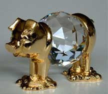 Crystal Pig Figurine - Pig Miniature Handcrafted By BJcrystals Using Swarovski Crystal