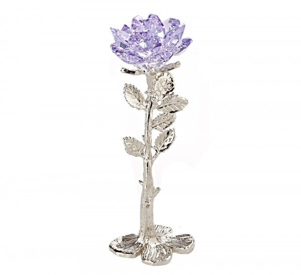 Standing Purple Rose Handcrafted By the Artisans At Bjcrystalgifts Using Swarovski Crystal