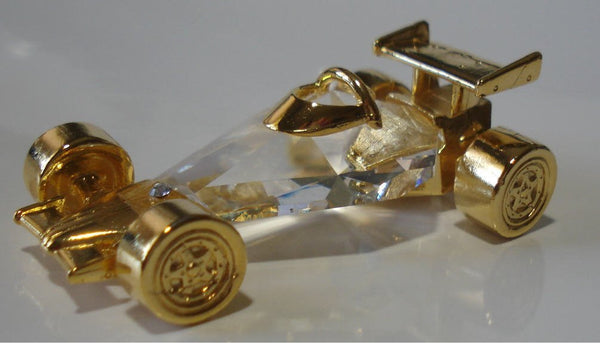 Crystal Race Car Figurine - Race Car Miniature - Gold Tone Race Car