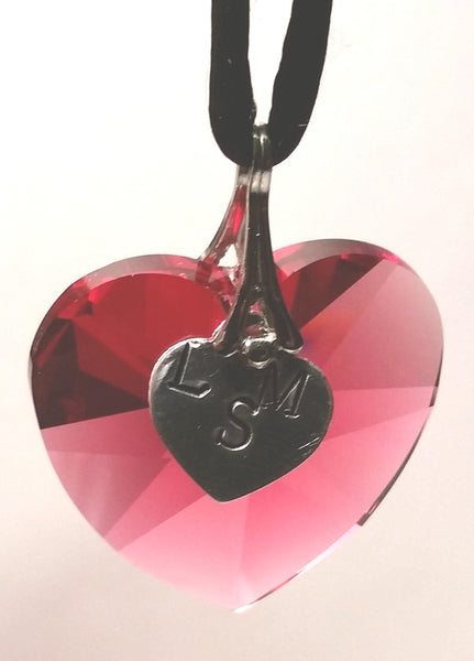 Red Crystal Heart Necklace Handcrafted By The Artisans At Bjcrystalgifts With Swarovski Crystal - Hand Stamped In Our Studio With Initials