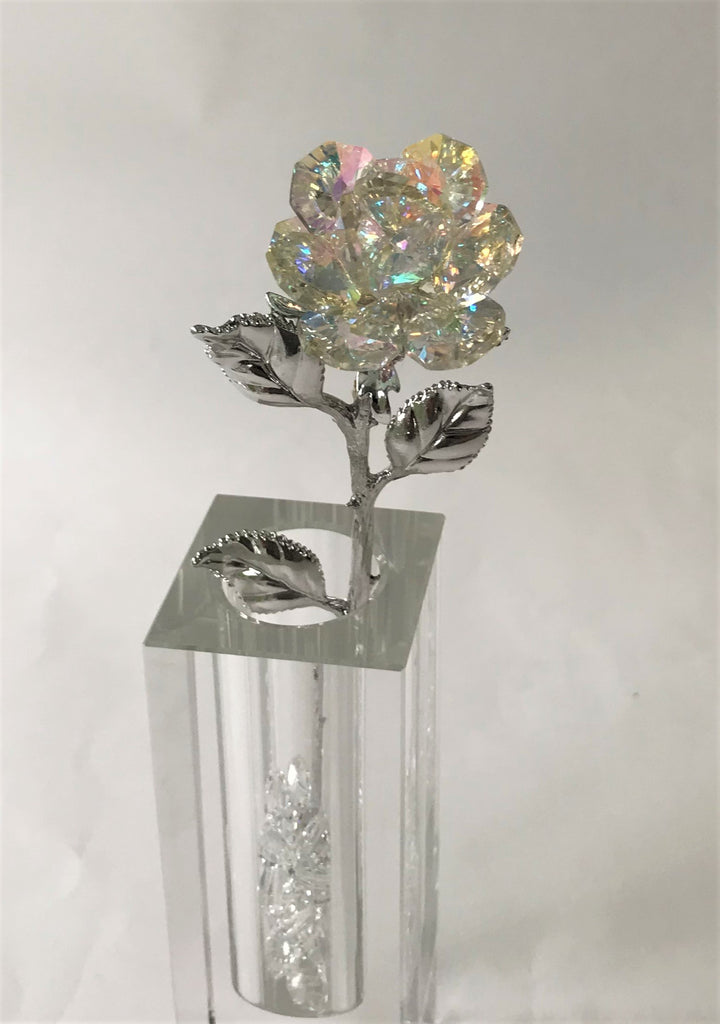 AB Crystal Rose Handcrafted By Bjcrystalgifts Using Swarovski Crystals In A Crystal Vase