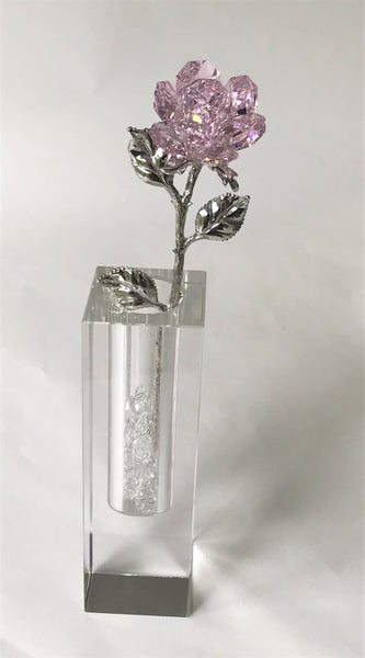 Pink Crystal Rose Handcrafted By Bjcrystalgifts Using Swarovski Crystals In A Crystal Vase