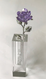 Purple Crystal Rose Handcrafted By Bjcrystalgifts Using Swarovski Crystals In A Crystal Vase