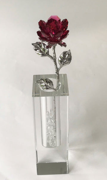 Red Crystal Rose Handcrafted By Bjcrystalgifts Using Swarovski Crystals In A Crystal Vase