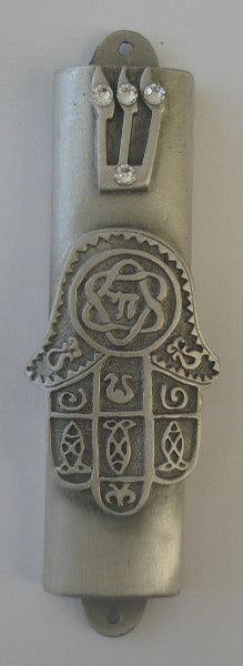 Pewter Chamsa Mezuzah Case Handcrafted With Swarovski Crystals- Mezuzah For The Door - Jewish Housewarming Gift
