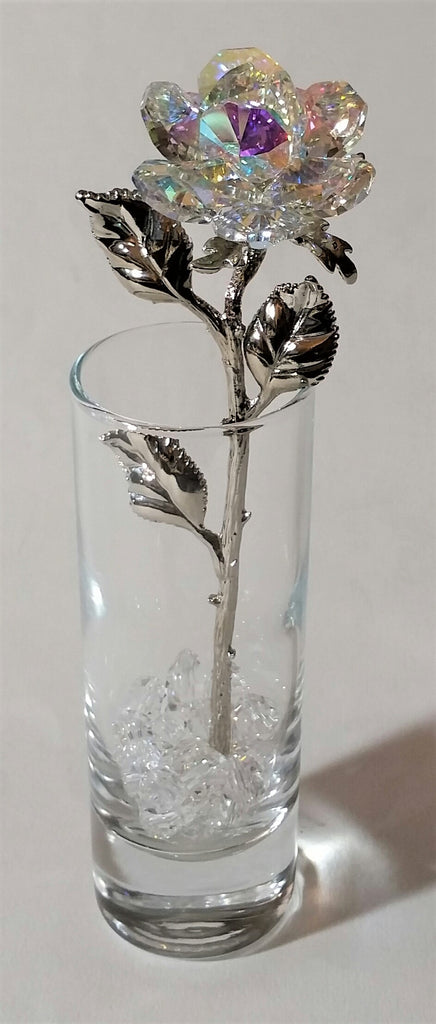 AB Crystal Rose Made with Swarovski Crystal in Vase