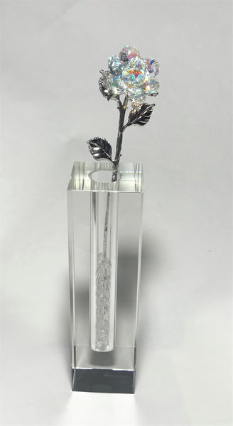 Long Stem AB Crystal Rose In 7 Inch Crystal Vase - AB Crystal Flower In Crystal Vase