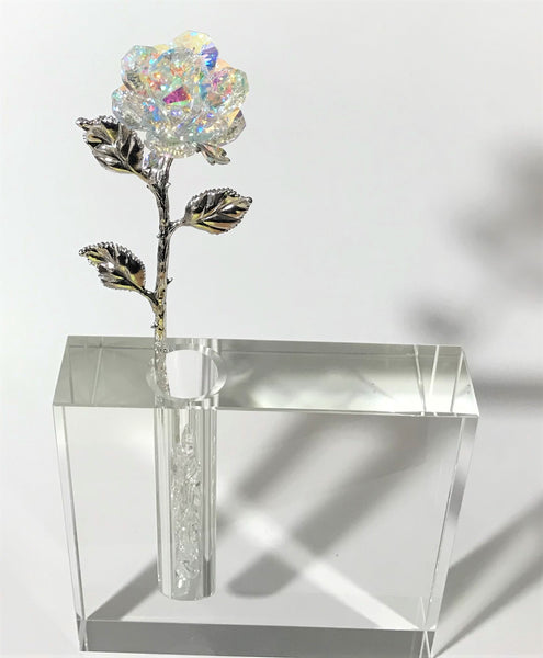 AB Crystal Rose In Crystal Vase - AB Long Stem Crystal Flower In Crystal Vase