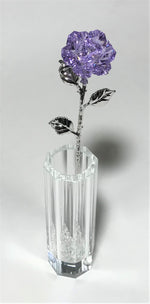 Load image into Gallery viewer, Purple Crystal Rose In Crystal Vase - Long Stem Crystal Flower In Vase