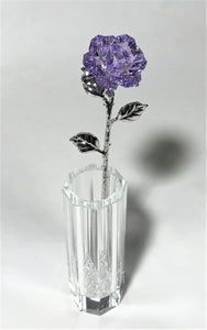 Purple Crystal Rose In Crystal Vase - Long Stem Crystal Flower In Vase
