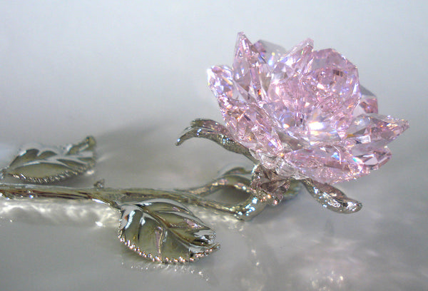 Pink Crystal Rose Handcrafted By Bjcrystalgifts Using Swarovski Crystal - Crystal Rose Figurine