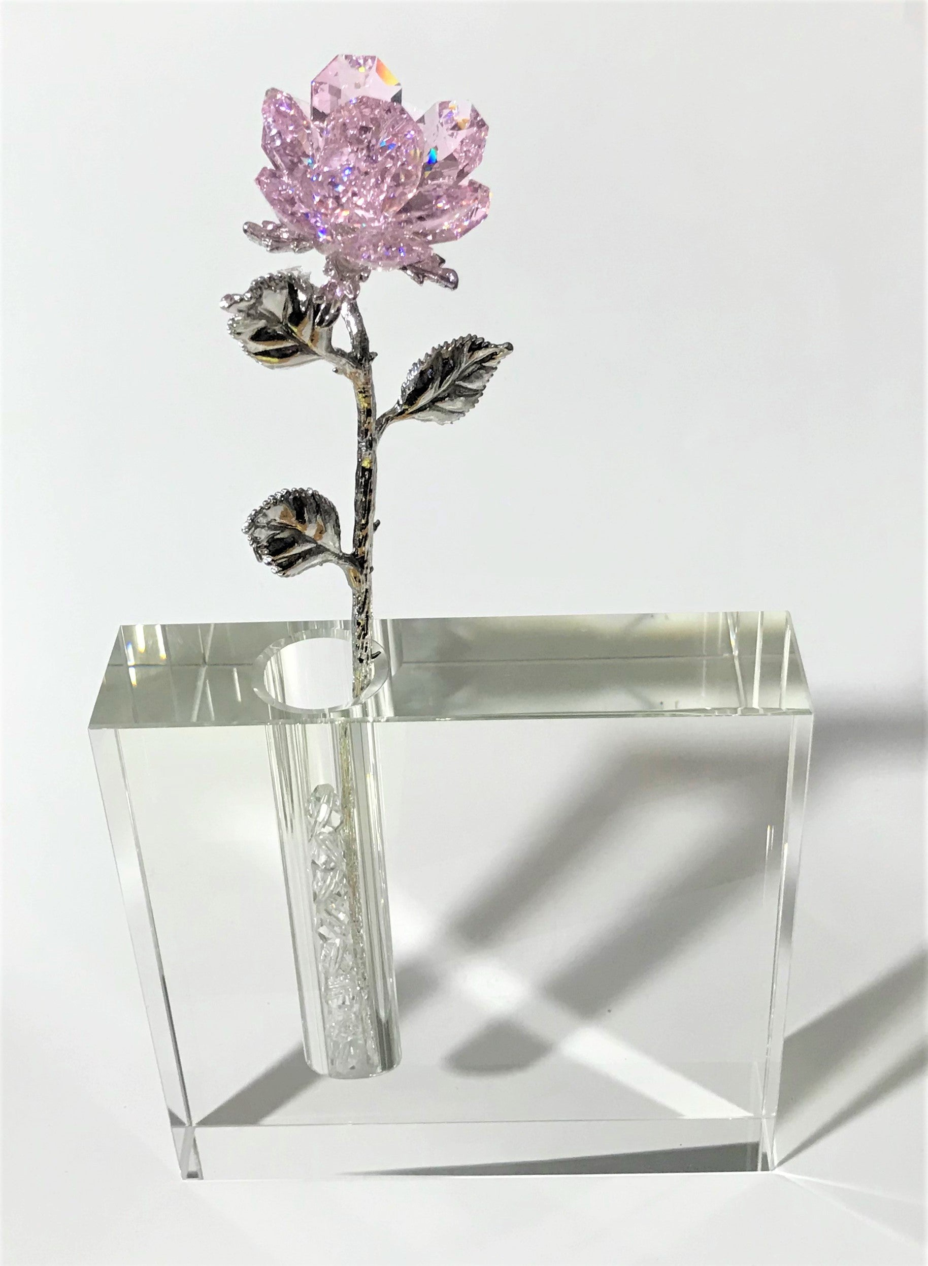 Pink Crystal Rose In 5 Inch Square Crystal Vase - Pink Crystal Flower In Vase