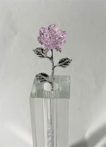 Long Stem Pink Crystal Rose In 7 Inch Crystal Vase - Pink Crystal Flower In Crystal Vase