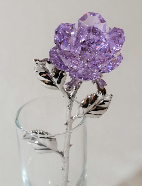Purple Crystal Rose Made Using Swarovski Crystal in Vase
