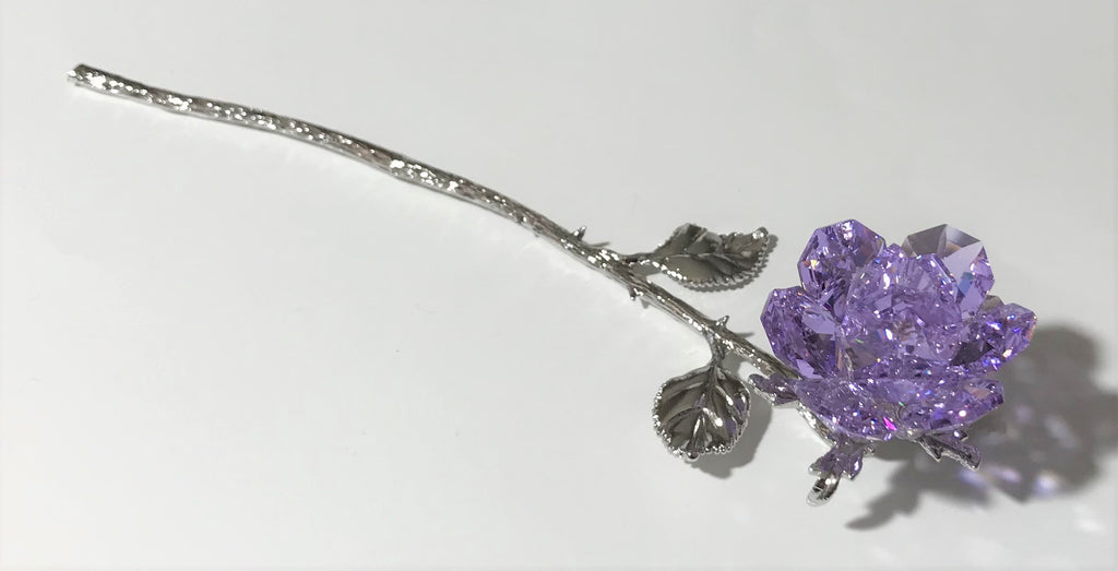 Sparkling Long Stem Purple Crystal Rose - Crystal Purple Flower Hand Crafted By The Artisans At Bjcrystalgifts Using Swarovski Crystals