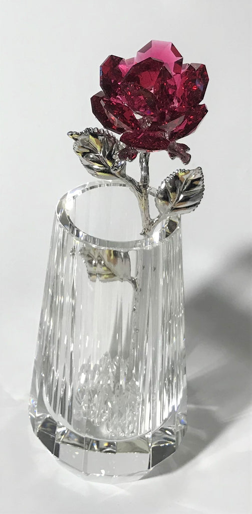 Sparkling Red Crystal Rose Hand Crafted By The Artisans At Bjcrystalgifts Using Swarovski Crystal