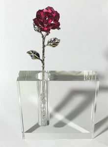 Red Crystal Rose In 5 Inch Square Crystal Vase - Red Crystal Flower In Crystal Vase