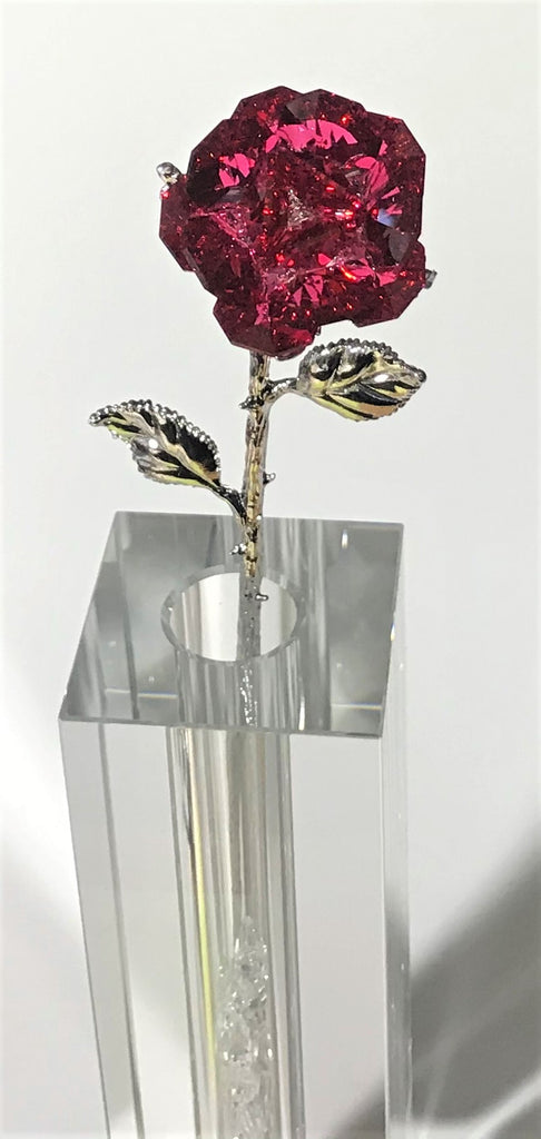 Sparkling Red Crystal Rose In Stunning 7 Inch Tall Crystal Vase - Red Crystal Flower