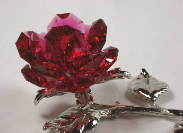 Red Crystal Rose Handcrafted By Bjcrystalgifts Using Swarovski Crystal - Lying Rose