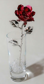 Load image into Gallery viewer, Red Crystal Rose Made with Swarovski Crystal in Vase