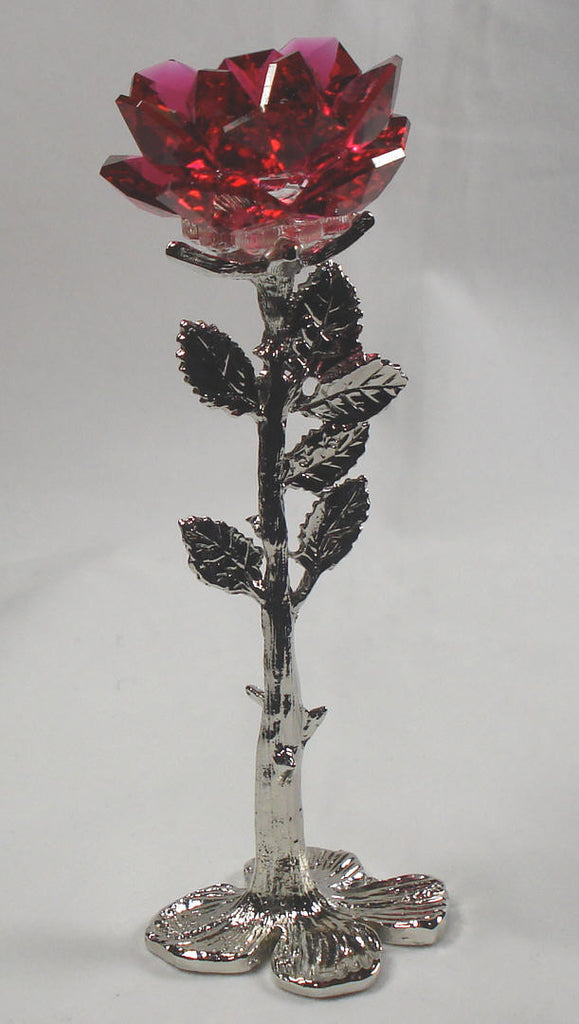 Red Crystal Rose Handcrafted By Bjcrystalgifts Using Swarovski Crystal - Crystal Rose Figurine