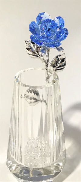 Blue Crystal Rose In Crystal Vase - Blue Crystal Flower In Crystal Vase - Rose Figurine