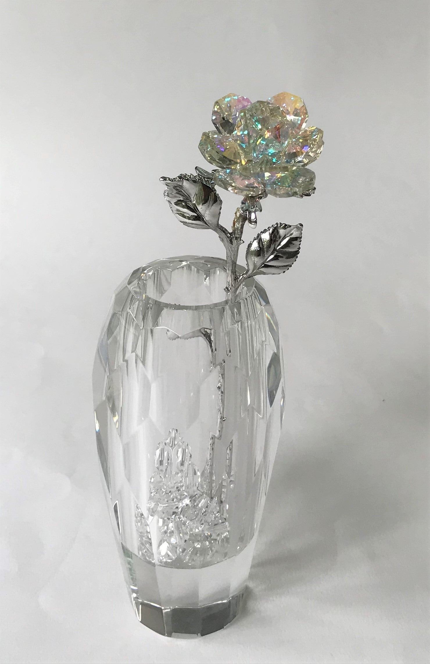 Aurora Borealis Rose In Faceted Crystal Vase