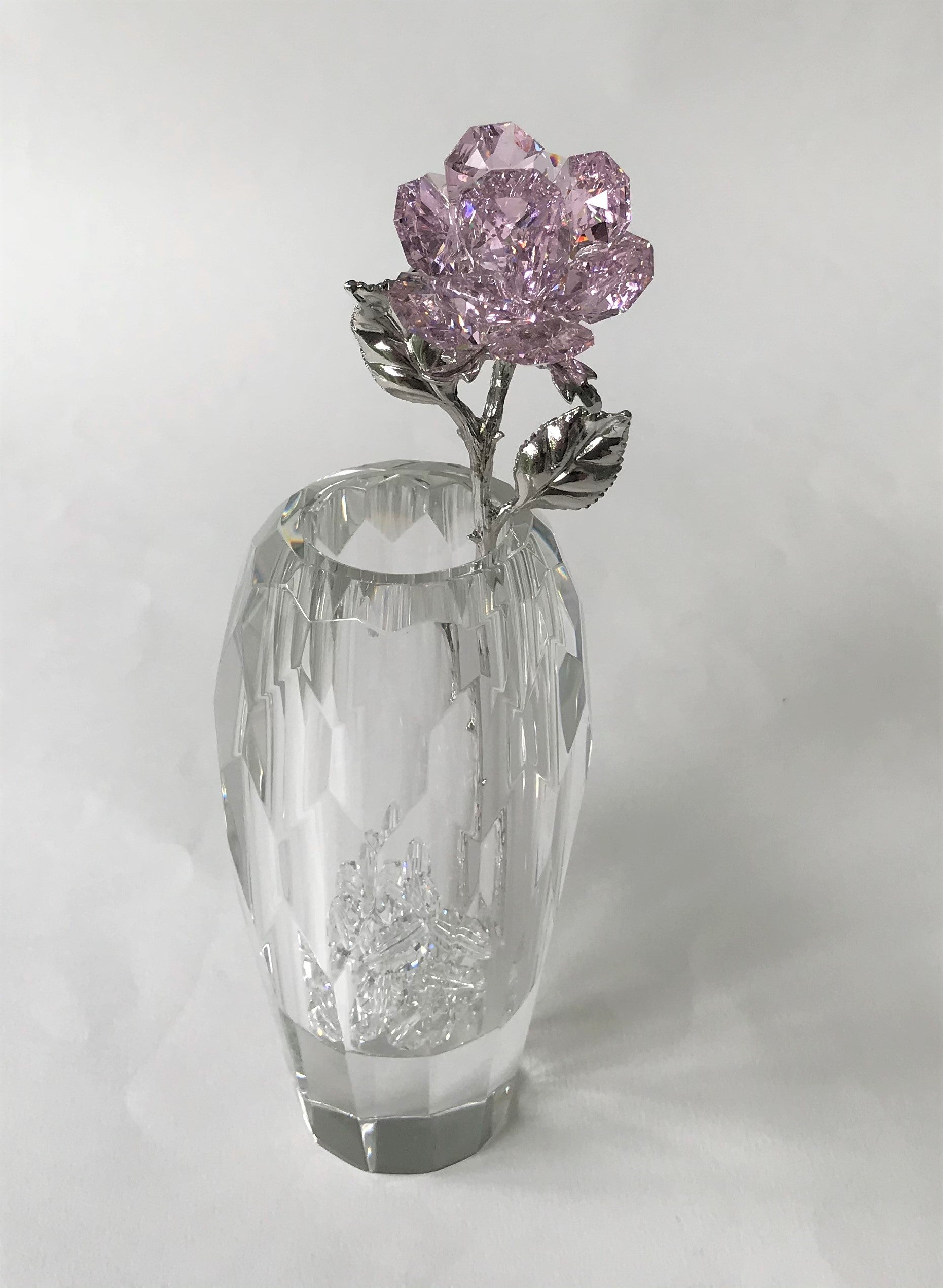 Pink Crystal Rose Handcrafted By Bjcrystalgifts Using Swarovski Crystals In A Faceted Crystal Vase