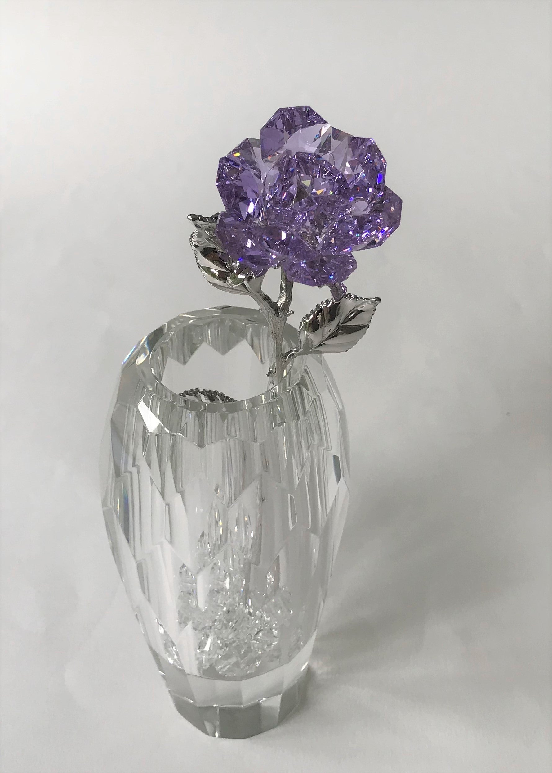 Purple Crystal Rose Handcrafted By Bjcrystalgifts Using Swarovski Crystals In A Faceted Crystal Vase