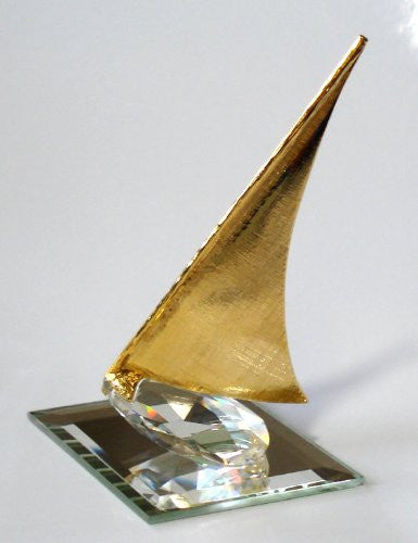 Crystal Sailboat Miniature - Sailboat Figurine - Gold Tone Sailboat