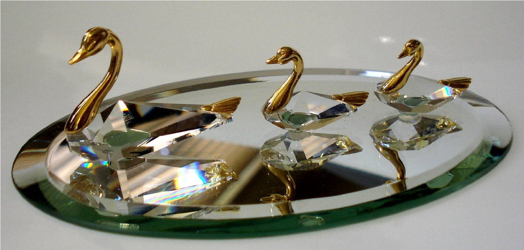Swan Family Figurine - Crystal Swan Miniature - Gold Tone Swans