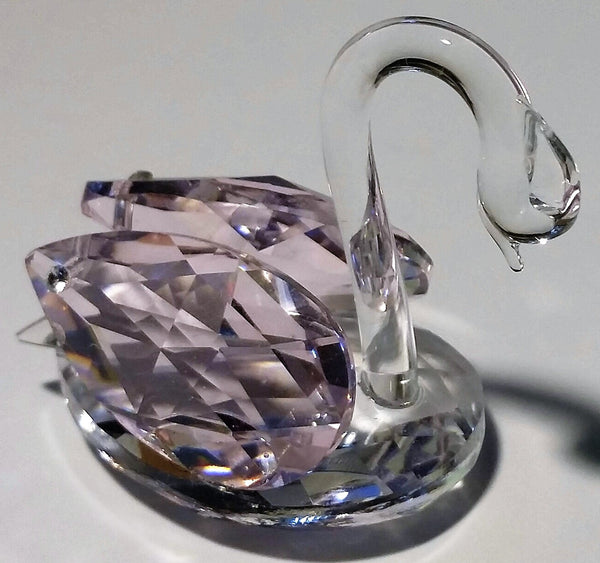 Crystal Swan With Pink Wings - Swan Miniature - Swan Collector