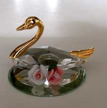 Crystal Swan Figurine Handcrafted By Bjcrystals Using Swarovski Crystal - Swan Miniature