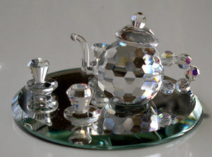 Crystal Tea Set Figurine - Tea Set Miniature Handcrafted By Bjcrystalgifts Using Swarovski Crystal