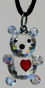Load image into Gallery viewer, Crystal Teddy Bear With Red Heart Necklace