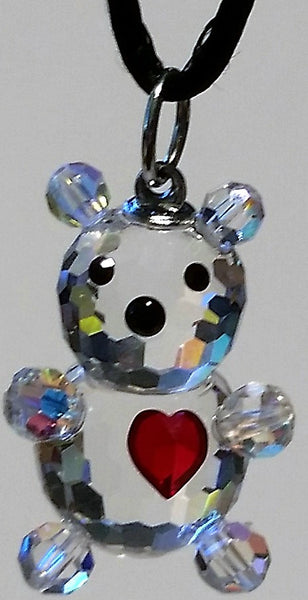 Crystal Teddy Bear With Red Heart Necklace