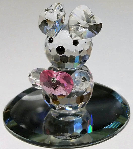 Crystal Teddy Bear Figurine With Pink Heart Handcrafted With Swarovski Crystal