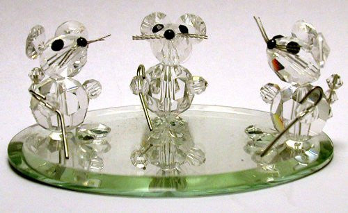 Crystal Three Blind Mice Figurine Handcrafted By Bjcrystals Using Swarovski Crystals