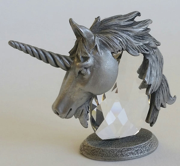 Crystal Unicorn Head Handcrafted By Bjcrystal Gifts Using Swarovski Crystal - Unicorn Miniature