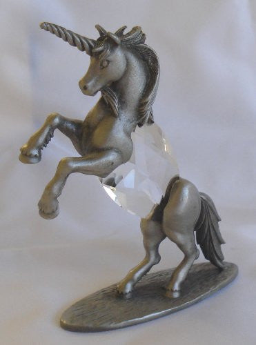 Pewter Unicorn Figurine - Crystal Unicorn Miniature Handcrafted With Swarovski Crystal