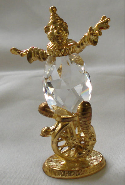 Crystal Unicycle Clown - Whimsical Clown - Clown Handcrafted By The Artisans At Bjcrystalgifts Using Swarovski Crystal