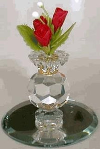 Crystal Vase With Red Ceramic Flowers